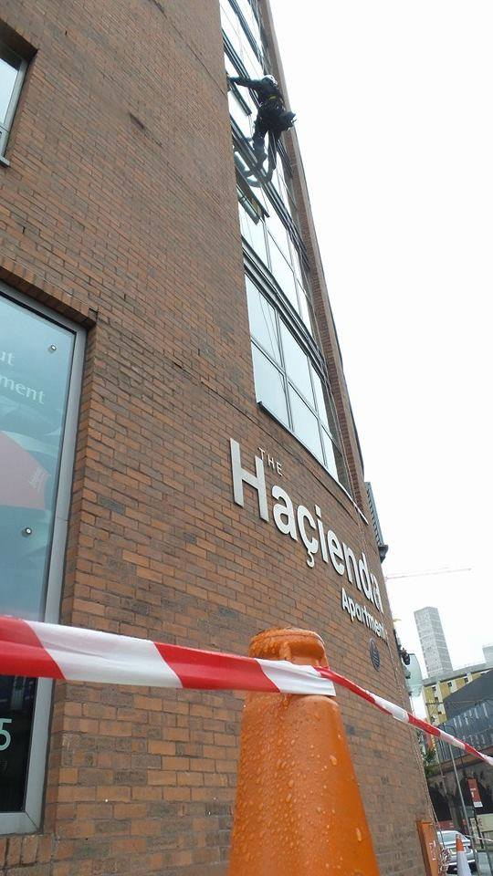 Abseiling at The Hacienda Apartments in Manchester