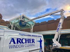 Cherry picker window cleaning at Salford Shopping Centre