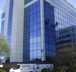 Window cleaning by abseil Manchester