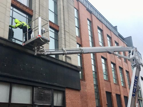 high level window cleaning using cherry pickers