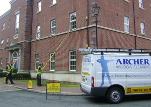 Waterfed-pole window cleaning system