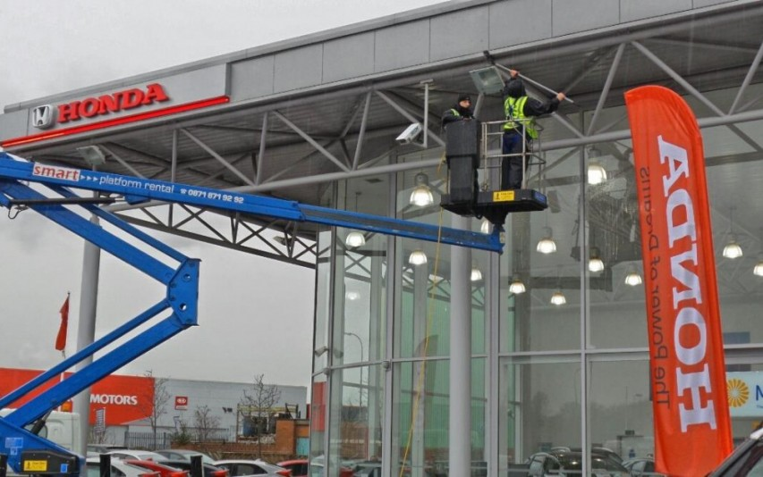 Window cleaning at Honda Car Showrooms