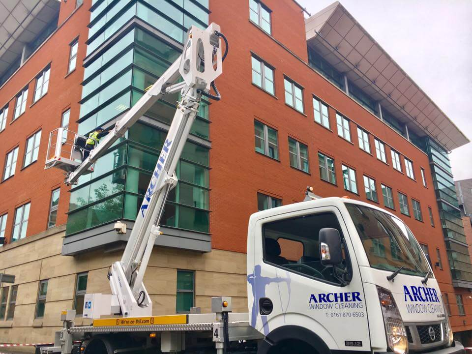 High level cherry picker window cleaning service