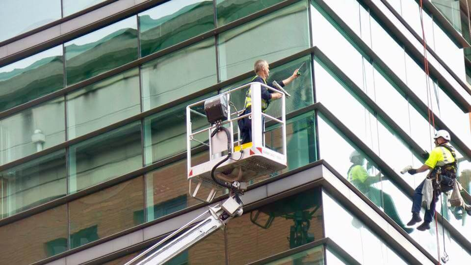 Cherry picking window cleaner Manchester