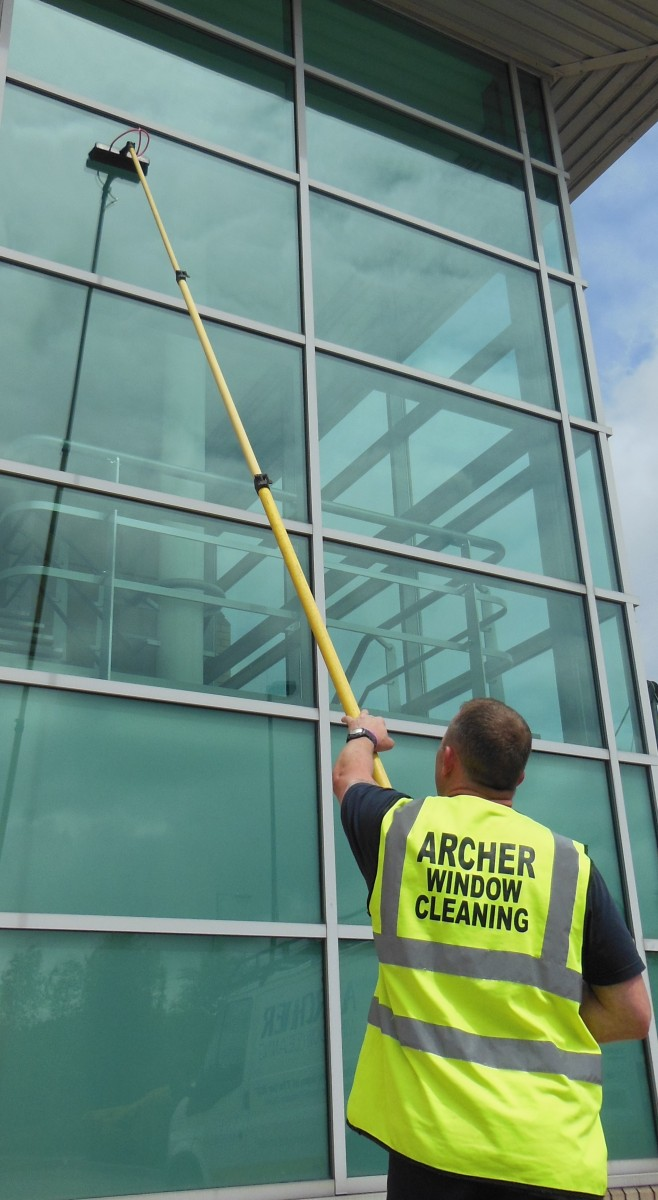 commercial window cleaners Manchester water fed pole system